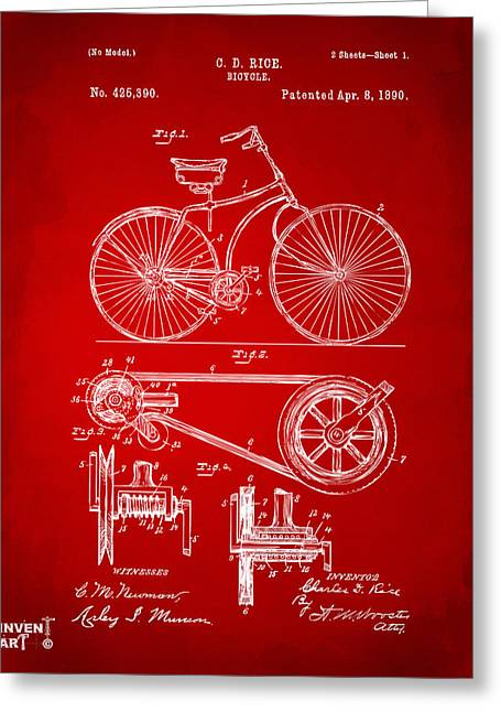 Vintage Bicycle Greeting Cards - 1890 Bicycle Patent Artwork - Red Greeting Card by Nikki Marie Smith