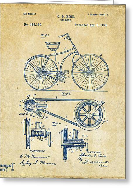 Cave Digital Greeting Cards - 1890 Bicycle Patent Artwork - Vintage Greeting Card by Nikki Marie Smith