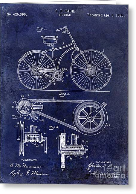 Vintage Bicycle Greeting Cards - 1890 Bicycle Patent Drawing Blue Greeting Card by Jon Neidert