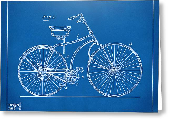 Patent Artwork Greeting Cards - 1890 Bicycle Patent Minimal - Blueprint Greeting Card by Nikki Marie Smith