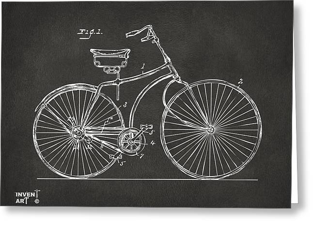 Vintage Bicycle Greeting Cards - 1890 Bicycle Patent Minimal - Gray Greeting Card by Nikki Marie Smith