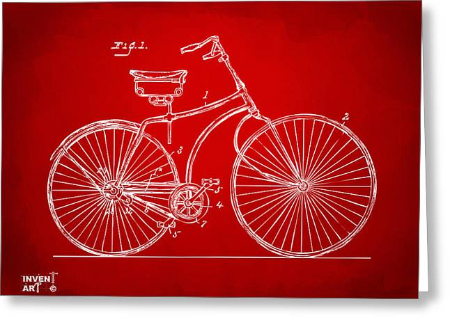 Vintage Bicycle Greeting Cards - 1890 Bicycle Patent Minimal - Red Greeting Card by Nikki Marie Smith