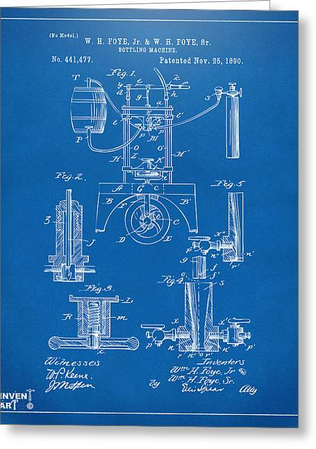 Bar Art Greeting Cards - 1890 Bottling Machine Patent Artwork Blueprint Greeting Card by Nikki Marie Smith