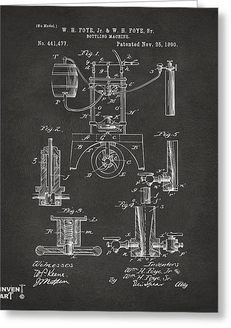 Bar Art Greeting Cards - 1890 Bottling Machine Patent Artwork Gray Greeting Card by Nikki Marie Smith
