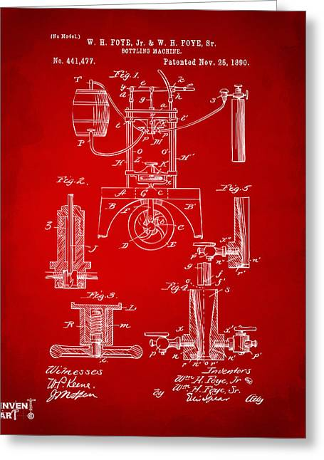 Bar Decor Greeting Cards - 1890 Bottling Machine Patent Artwork Red Greeting Card by Nikki Marie Smith