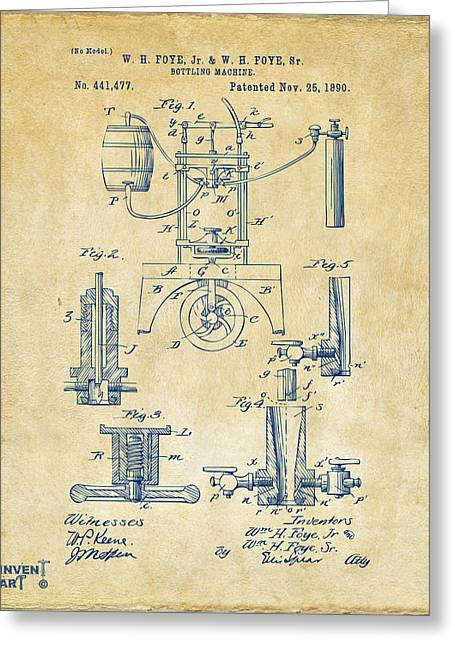 Bar Decor Greeting Cards - 1890 Bottling Machine Patent Artwork Vintage Greeting Card by Nikki Marie Smith