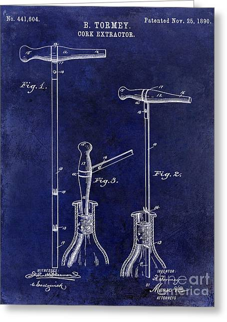 1890 Cork Extractor Patent Drawing Blue Greeting Card by Jon Neidert