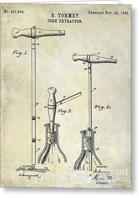 Merlot Greeting Cards - 1890 Cork Extractor Patent Drawing Greeting Card by Jon Neidert
