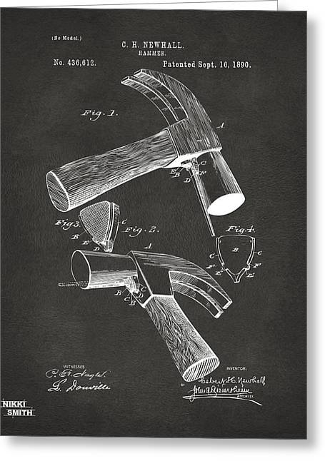 Hammer Greeting Cards - 1890 Hammer Patent Artwork - Gray Greeting Card by Nikki Marie Smith
