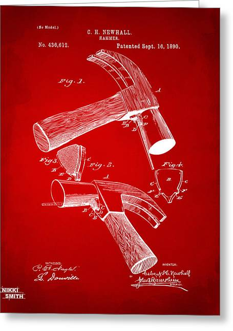 Hammer Greeting Cards - 1890 Hammer Patent Artwork - Red Greeting Card by Nikki Marie Smith