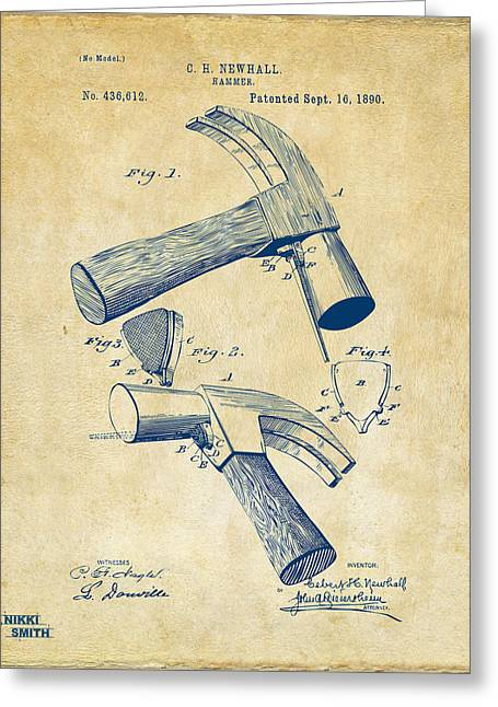 Hammer Greeting Cards - 1890 Hammer Patent Artwork - Vintage Greeting Card by Nikki Marie Smith