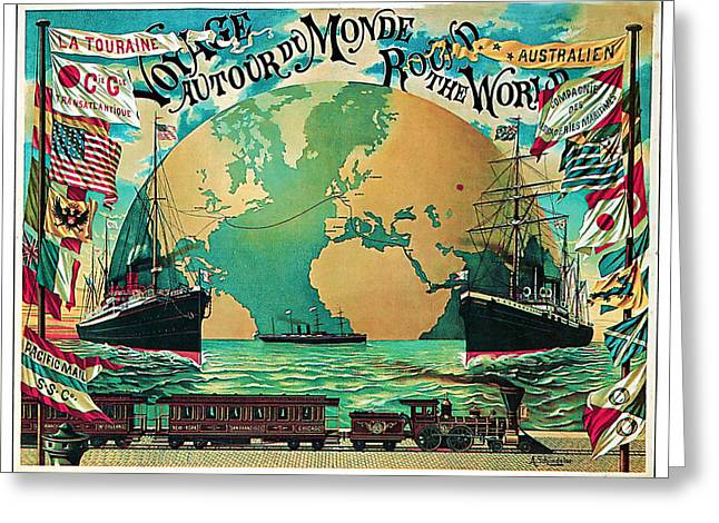 Historic Ship Mixed Media Greeting Cards - 1890 Round the World Voyage - Vintage Travel Art Greeting Card by Presented By American Classic Art