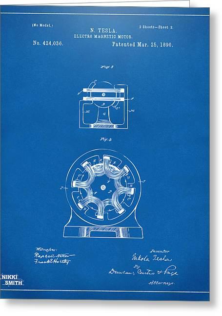 Nicola. Greeting Cards - 1890 Tesla Motor Patent - Blueprint Greeting Card by Nikki Marie Smith