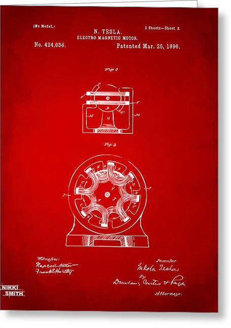 Nicola. Greeting Cards - 1890 Tesla Motor Patent - Red Greeting Card by Nikki Marie Smith