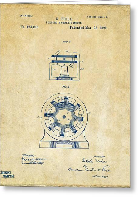 Nicola. Greeting Cards - 1890 Tesla Motor Patent - Vintage Greeting Card by Nikki Marie Smith