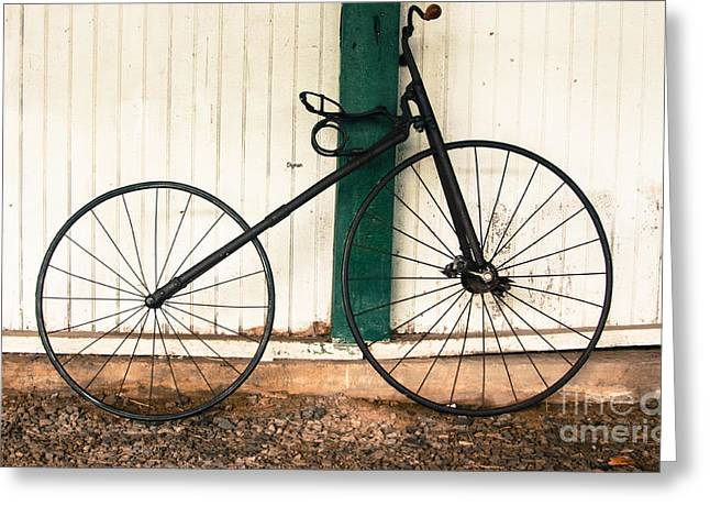 Vintage Bicycle Greeting Cards - 1890 Velocipede  Greeting Card by Steven  Digman