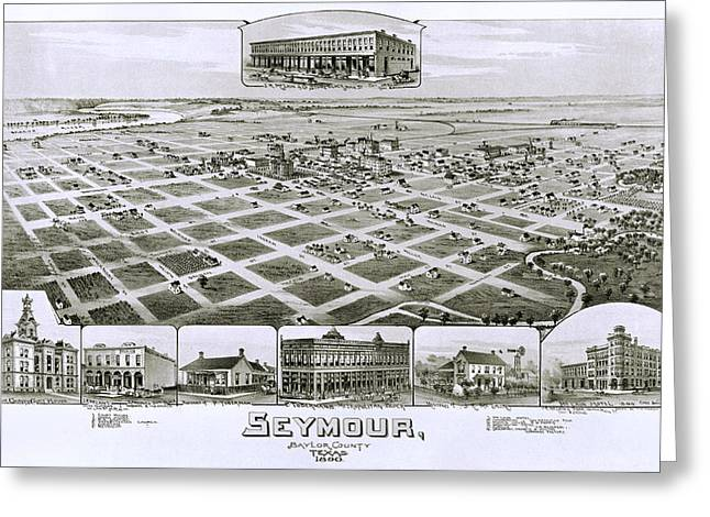 Hand Drawn Greeting Cards - 1890 Vintage Map of Seymour Texas Greeting Card by Stephen Stookey