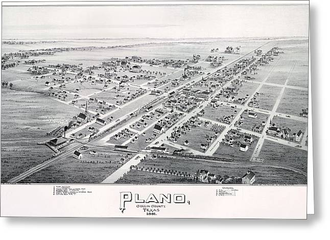Hand Drawn Greeting Cards - 1890 Vintage Map of Plano Texas Greeting Card by Stephen Stookey