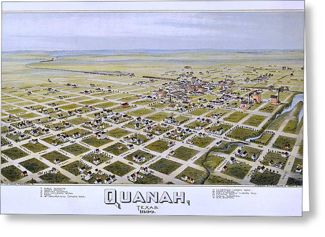 Hand Drawn Greeting Cards - 1890 Vintage Map of Quanah Texas Greeting Card by Stephen Stookey
