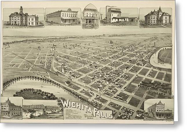 Geography Mixed Media Greeting Cards - 1890 Wichita Falls Texas Map Greeting Card by Dan Sproul
