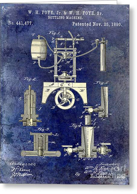 Cigar Greeting Cards - 1890 Wine Bottling Machine 2 Tone Blue Greeting Card by Jon Neidert