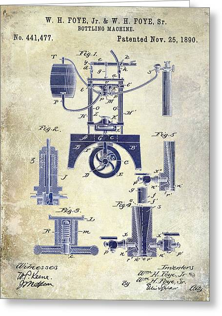 Merlot Greeting Cards - 1890 Wine Bottling Machine 2 Tone Greeting Card by Jon Neidert