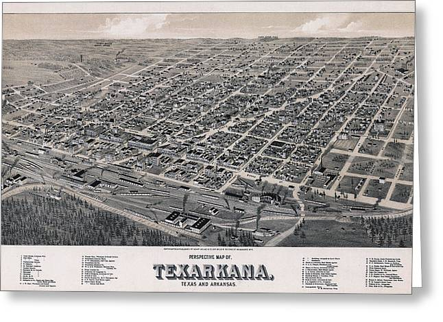 Hand Drawn Greeting Cards - Vintage Perspective Map of Texarkana Greeting Card by Stephen Stookey