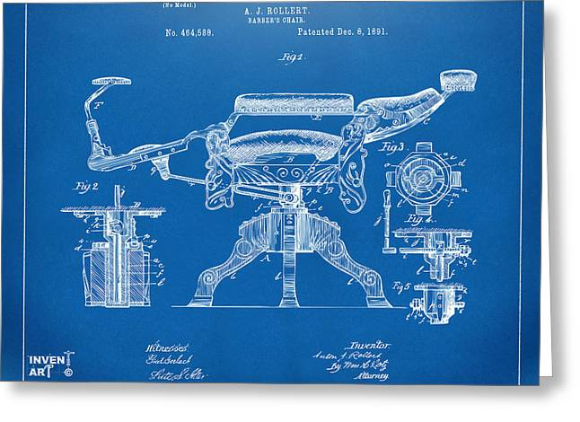 Barber Shop Greeting Cards - 1891 Barbers Chair Patent Artwork Blueprint Greeting Card by Nikki Marie Smith
