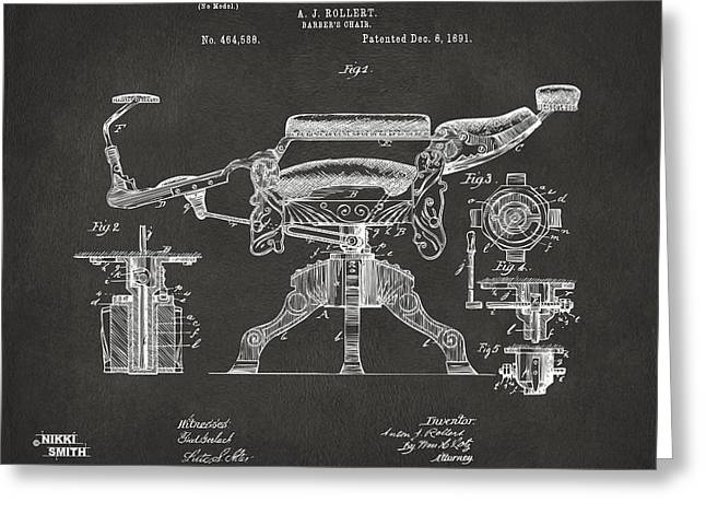 Hair Dresser Greeting Cards - 1891 Barbers Chair Patent Artwork - Gray Greeting Card by Nikki Marie Smith