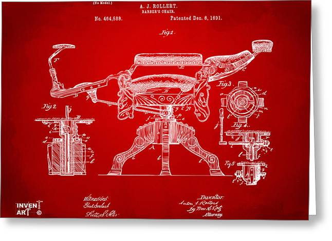 Patent Artwork Greeting Cards - 1891 Barbers Chair Patent Artwork Red Greeting Card by Nikki Marie Smith