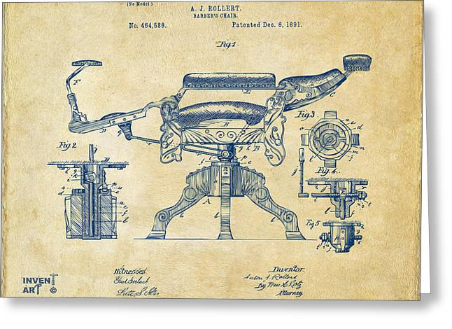 Patent Artwork Greeting Cards - 1891 Barbers Chair Patent Artwork Vintage Greeting Card by Nikki Marie Smith