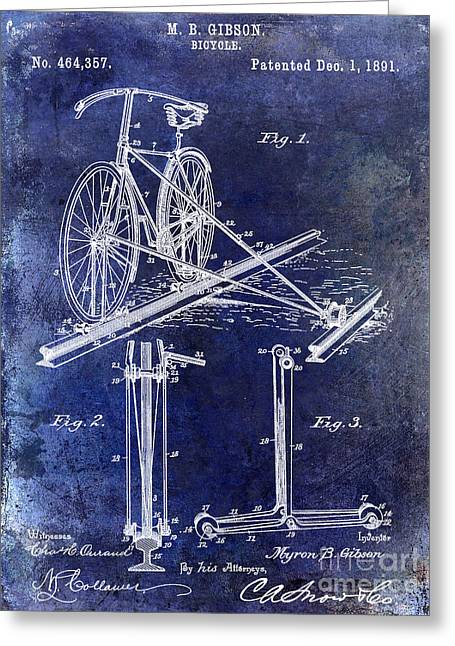 1891 Greeting Cards - 1891 Bicycle Patent Drawing Blue Greeting Card by Jon Neidert