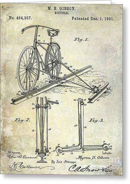 1891 Greeting Cards - 1891 Bicycle Patent Drawing Greeting Card by Jon Neidert