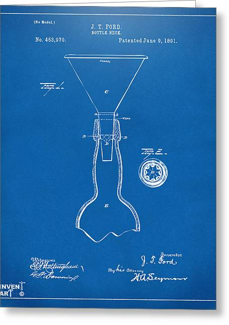 1891 Bottle Neck Patent Artwork Blueprint Greeting Card by Nikki Marie Smith