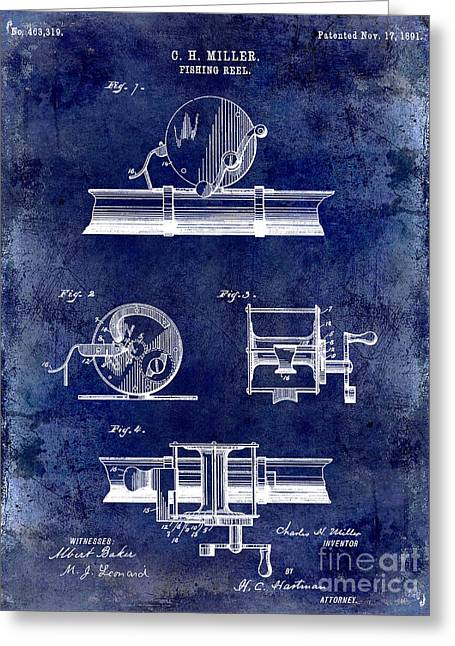 Port Fish Greeting Cards - 1891 Fishing Reel Patent Drawing Blue Greeting Card by Jon Neidert