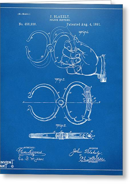 Highway Greeting Cards - 1891 Police Nippers Handcuffs Patent Artwork - Blueprint Greeting Card by Nikki Marie Smith
