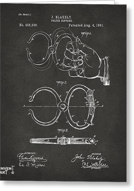 Undercover Greeting Cards - 1891 Police Nippers Handcuffs Patent Artwork - Gray Greeting Card by Nikki Marie Smith