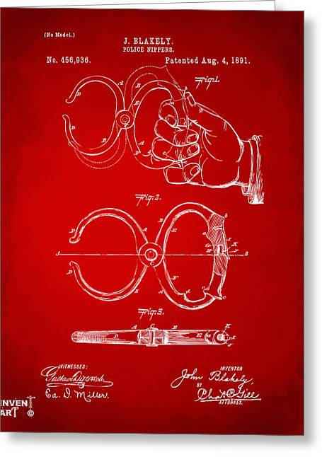 Undercover Greeting Cards - 1891 Police Nippers Handcuffs Patent Artwork - Red Greeting Card by Nikki Marie Smith