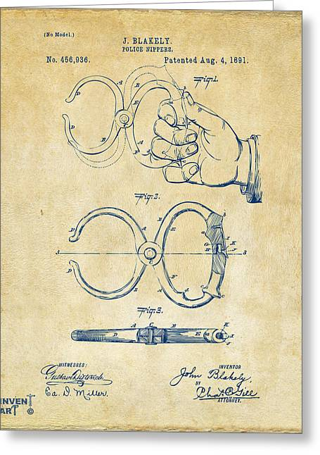 Undercover Greeting Cards - 1891 Police Nippers Handcuffs Patent Artwork - Vintage Greeting Card by Nikki Marie Smith