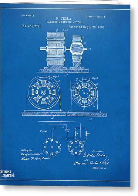 Nicola. Greeting Cards - 1891 Tesla Electro Magnetic Motor Patent - Blueprint Greeting Card by Nikki Marie Smith