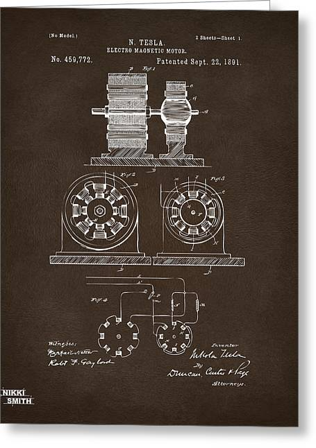 Magnetic Greeting Cards - 1891 Tesla Electro Magnetic Motor Patent Espresso Greeting Card by Nikki Marie Smith