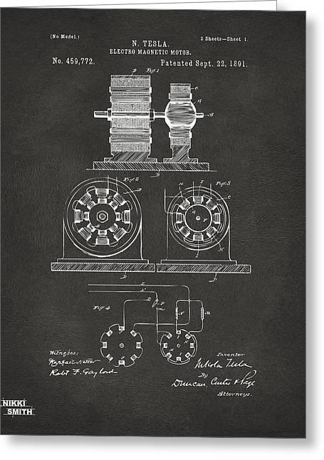 Nicola. Greeting Cards - 1891 Tesla Electro Magnetic Motor Patent - Gray Greeting Card by Nikki Marie Smith