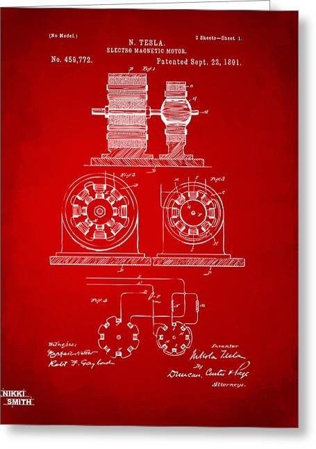 Nicola. Greeting Cards - 1891 Tesla Electro Magnetic Motor Patent - Red Greeting Card by Nikki Marie Smith