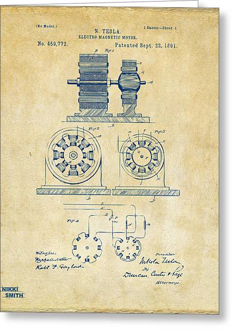 Nicola. Greeting Cards - 1891 Tesla Electro Magnetic Motor Patent - Vintage Greeting Card by Nikki Marie Smith
