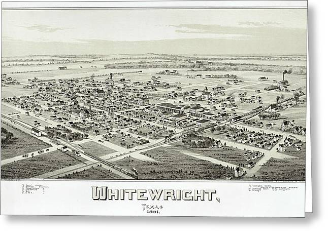 Hand Drawn Greeting Cards - 1891 Vintage Map of Whitewright Texas Greeting Card by Stephen Stookey