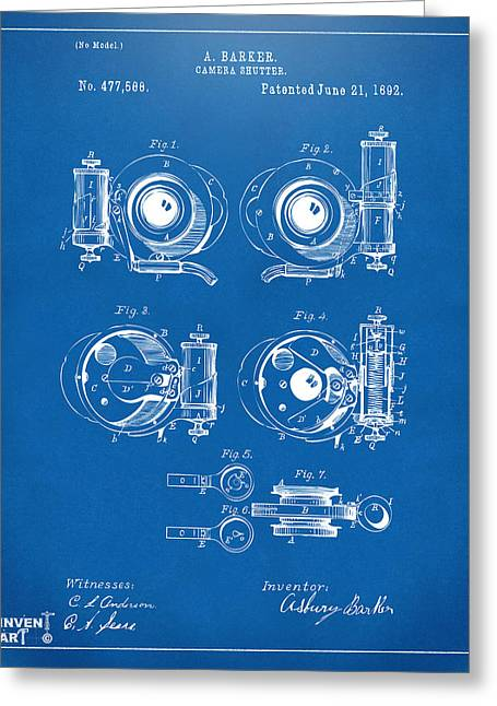 Antique Camera Greeting Cards - 1892 Barker Camera Shutter Patent Blueprint Greeting Card by Nikki Marie Smith