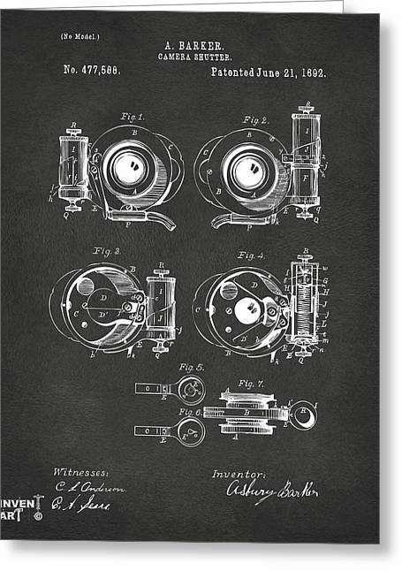 Camera Greeting Cards - 1892 Barker Camera Shutter Patent Gray Greeting Card by Nikki Marie Smith