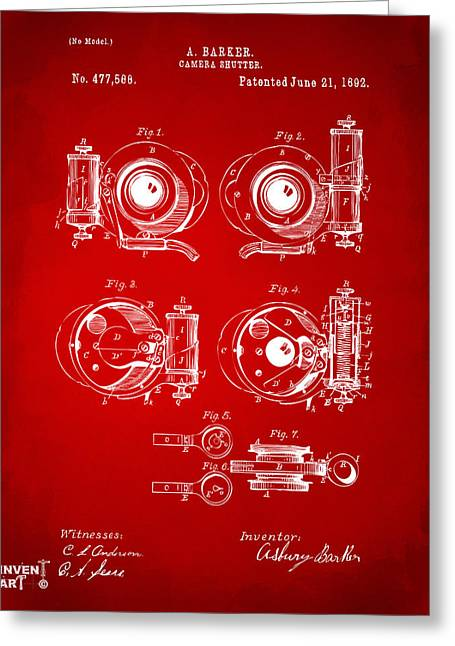 Camera Greeting Cards - 1892 Barker Camera Shutter Patent Red Greeting Card by Nikki Marie Smith