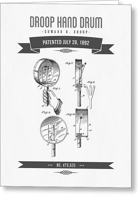 Hands Mixed Media Greeting Cards - 1892 Droop Hand Drum Patent Drawing Greeting Card by Aged Pixel