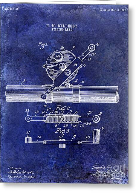 Penn Photographs Greeting Cards - 1892 Fishing Reel Patent Drawing Blue Greeting Card by Jon Neidert